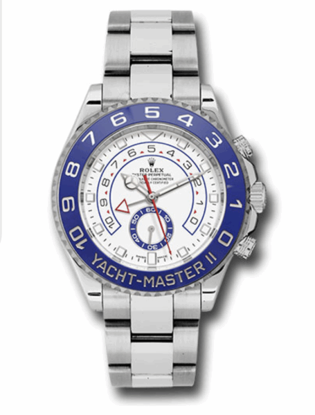 Closeup photo of Rolex with 44mm stainless steel case, 90 degree rotatable Command bezel with blue Cerachrom insert, matt white dial with blue lacquer small seconds counter