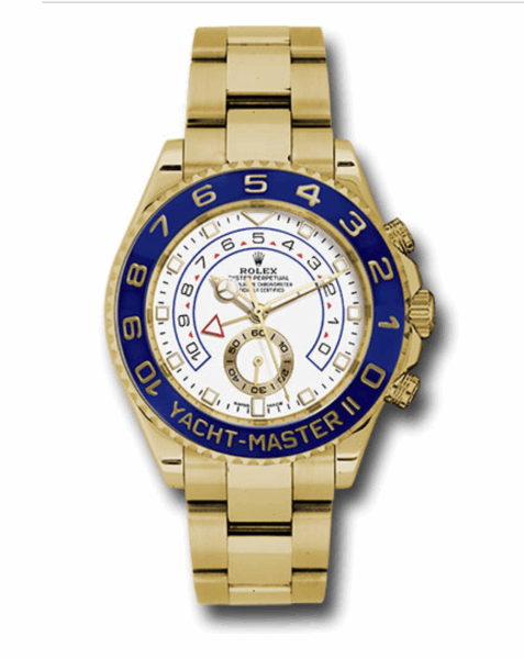 Closeup photo of 44mm 18K yellow gold case, blue ceramic Ring Command bezel, white dial, and Oysterlock bracelet