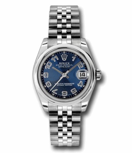 Closeup photo of 31mm stainless steel case, domed bezel, blue concentric circle dial, Arabic numerals, and Jubilee bracelet