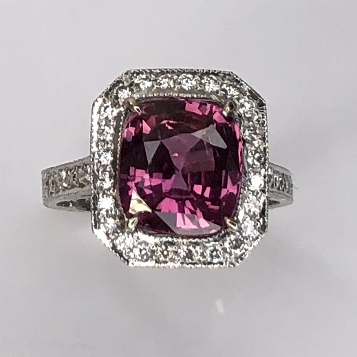 Image 2 for 18K White Gold 3.75ct Cushion Pink Sapphire Ring. .55tcw pave diamonds, engraving, s6.5