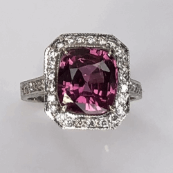 Closeup photo of 18K White Gold 3.75ct Cushion Pink Sapphire Ring. .55tcw pave diamonds, engraving, s6.5