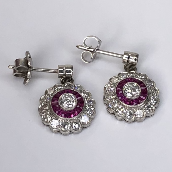 "Closeup photo of Platinum Art Deco Drop Earrings .40tcw Diamonds & 1.30tcw Rubies, .65"" tall"