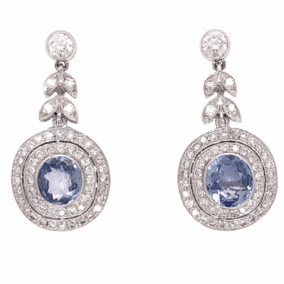 "View image 2 for 18K White Gold 2 Sapphires 2.08tcw Earrings & 1.05tcw diamonds 1.1"" tall"