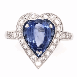 Closeup photo of 18K White Gold 1.93ct Sapphire Heart Ring with .42tcw diamonds & .45tcw Sapphires, s6.75