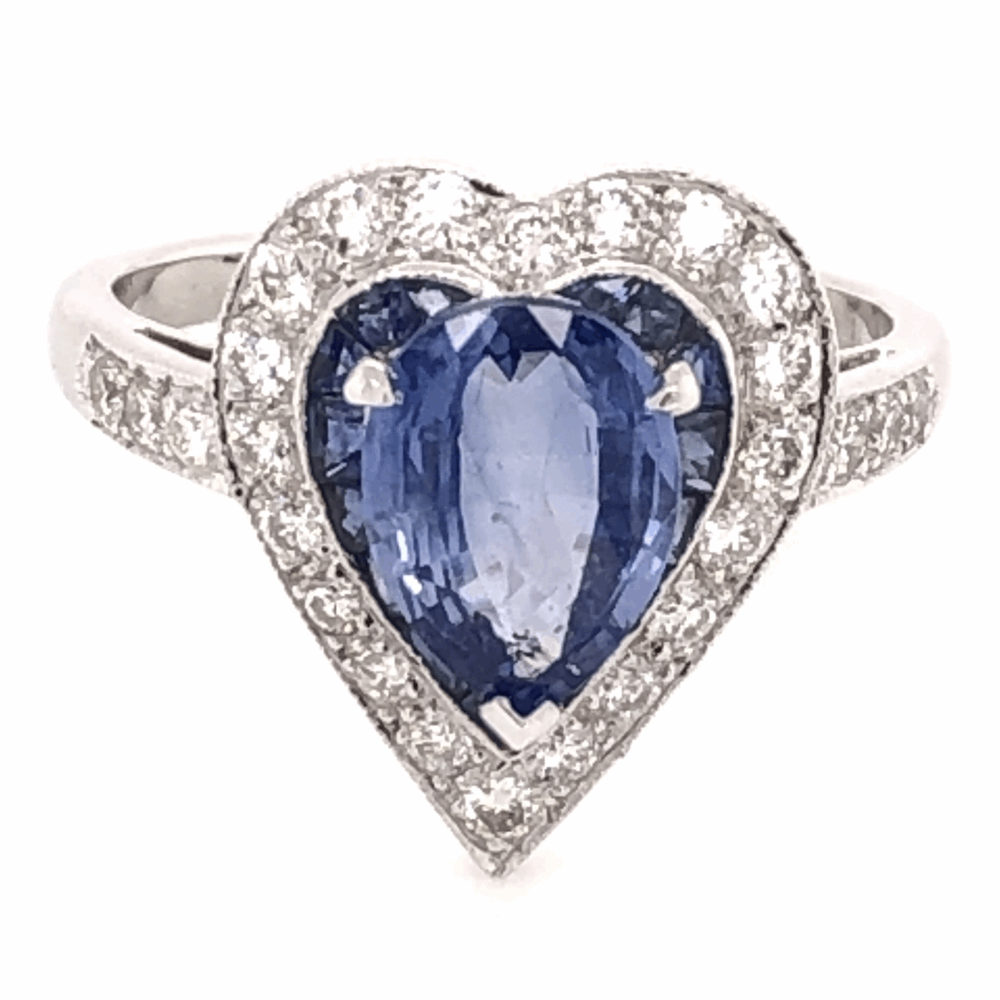 18K White Gold 1.93ct Sapphire Heart Ring with .42tcw diamonds & .45tcw Sapphires, s6.75