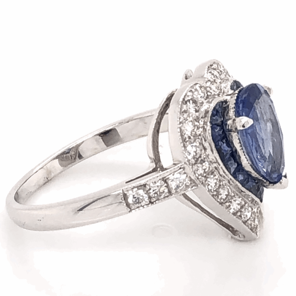 Image 2 for 18K White Gold 1.93ct Sapphire Heart Ring with .42tcw diamonds & .45tcw Sapphires, s6.75