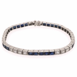 Closeup photo of Platinum Art Deco 6.50tcw Sapphire & 1.00tcw Diamond Line Bracelet, 16.8g, 7.25""