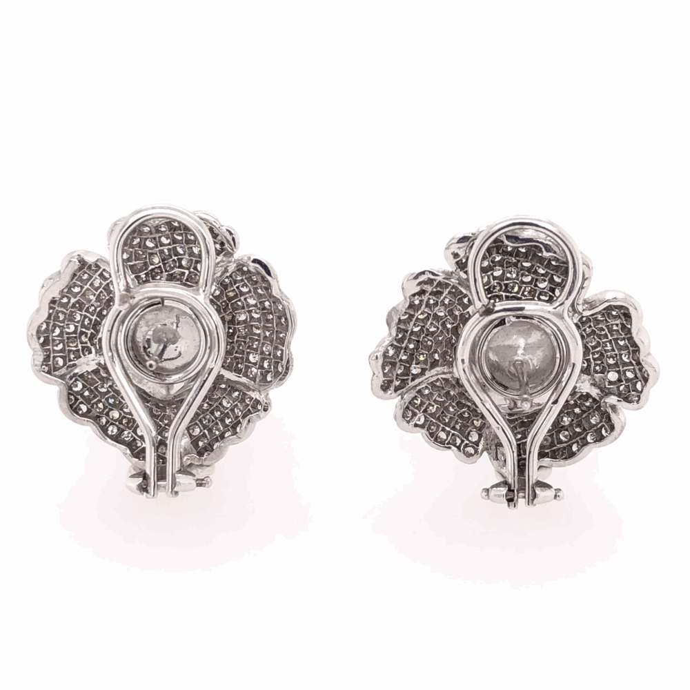 Image 2 for 14K White Gold Pearl & 2.50tcw Diamond Flower Earrings, c1950's