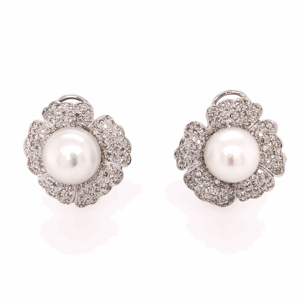 14K White Gold Pearl & 2.50tcw Diamond Flower Earrings, c1950's