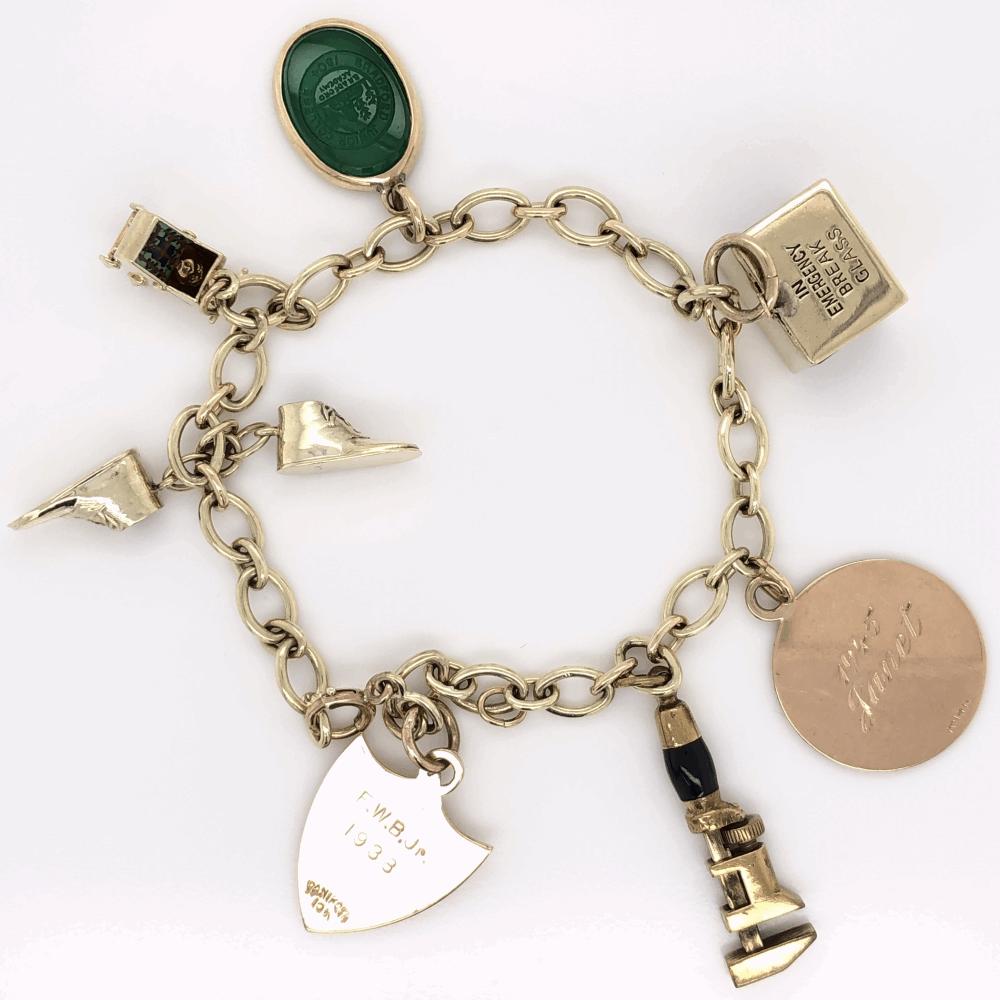 "Image 2 for 14K Yellow Gold Charm Bracelet 7"", c1945 24.4g"