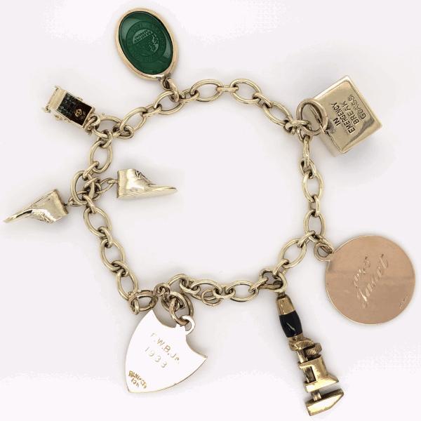 "Closeup photo of 14K Yellow Gold Charm Bracelet 7"", c1945 24.4g"