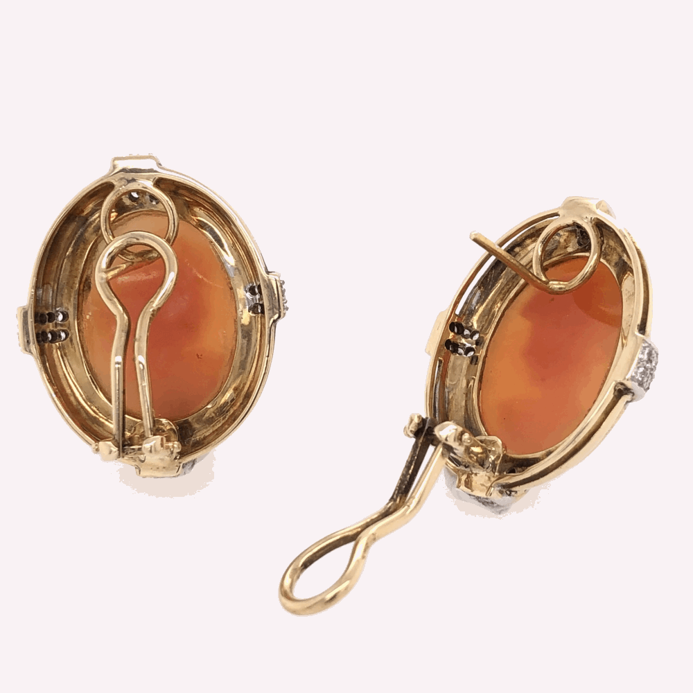 """Image 2 for 14K Yellow Gold Large Shell Cameo Earrings French Clips .64tcw diamonds, 16.5g, 1.1"""" tall"""