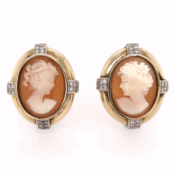 "Closeup photo of 14K Yellow Gold Large Shell Cameo Earrings French Clips .64tcw diamonds, 16.5g, 1.1"" tall"