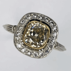 Closeup photo of Platinum Art Deco 1.42ct Yellow Antique Cushion Diamond Ring & .24tcw side diamonds, s7