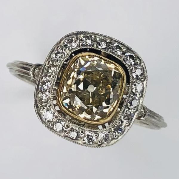 Closeup photo of Platinum Art Deco 1.42ct Yellow Antique Cushion Diamond Ring & .24tcw side diamonds, s7