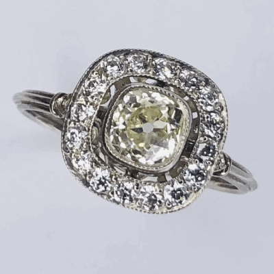 Closeup photo of Platinum Art Deco .71ct Antique Cushion Diamond Ring with .38tcw side diamonds, s7