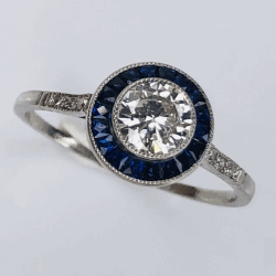 Closeup photo of Platinum .54ct Round Diamonds & .42tcw Blue Sapphire Hallo Ring, s7.5