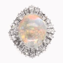 Closeup photo of Platinum 5.82ct Australian White Opal & 2.81tcw diamond Ballerina Ring c1960's, s6