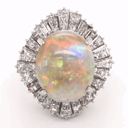 Closeup photo of Platinum 5.82ct Australian White Opal & 2.81tcw diamond Ballerina Ring c1960's, s6