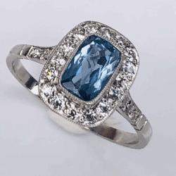 Closeup photo of Platinum Art Deco .65ct Rectangular Aquamarine & .48tcw diamond Ring, size 7