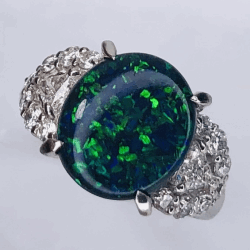 Closeup photo of Platinum 1950's 3.49ct Lightning Ridge Australian Black Opal Ring w/.80tcw dia, 8.7g