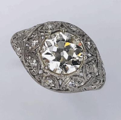 Closeup photo of Platinum Art Deco 1.77ct OEC Diamonds Ring .22tcw diamonds, s6.75, c1920's