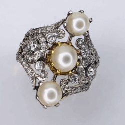 Closeup photo of Platinum on Gold Late Victorian/Edwardian Ring 3 Pearls & 1.10tcw diamonds s8.5