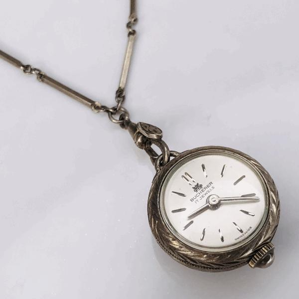"Closeup photo of Sterling Silver Vintage BUCHERER 17j Watch on 29"" swivel chain"