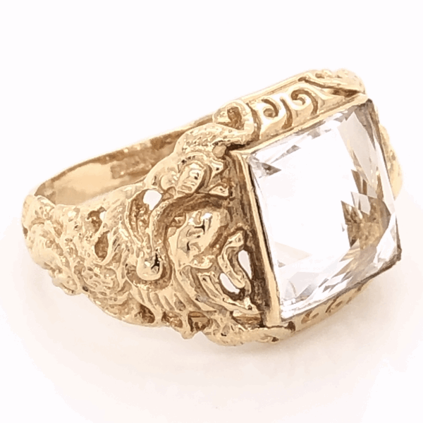 Closeup photo of 14K Yellow Gold Sanidine Feldspar Ring 5.6g