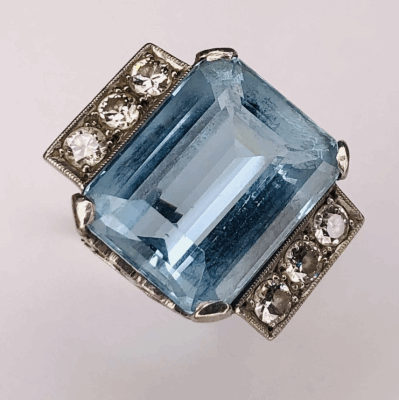 View image 2 for Platinum 1950's 15ct Aquamarine Ring with .60tcw diamonds 9.1g s7
