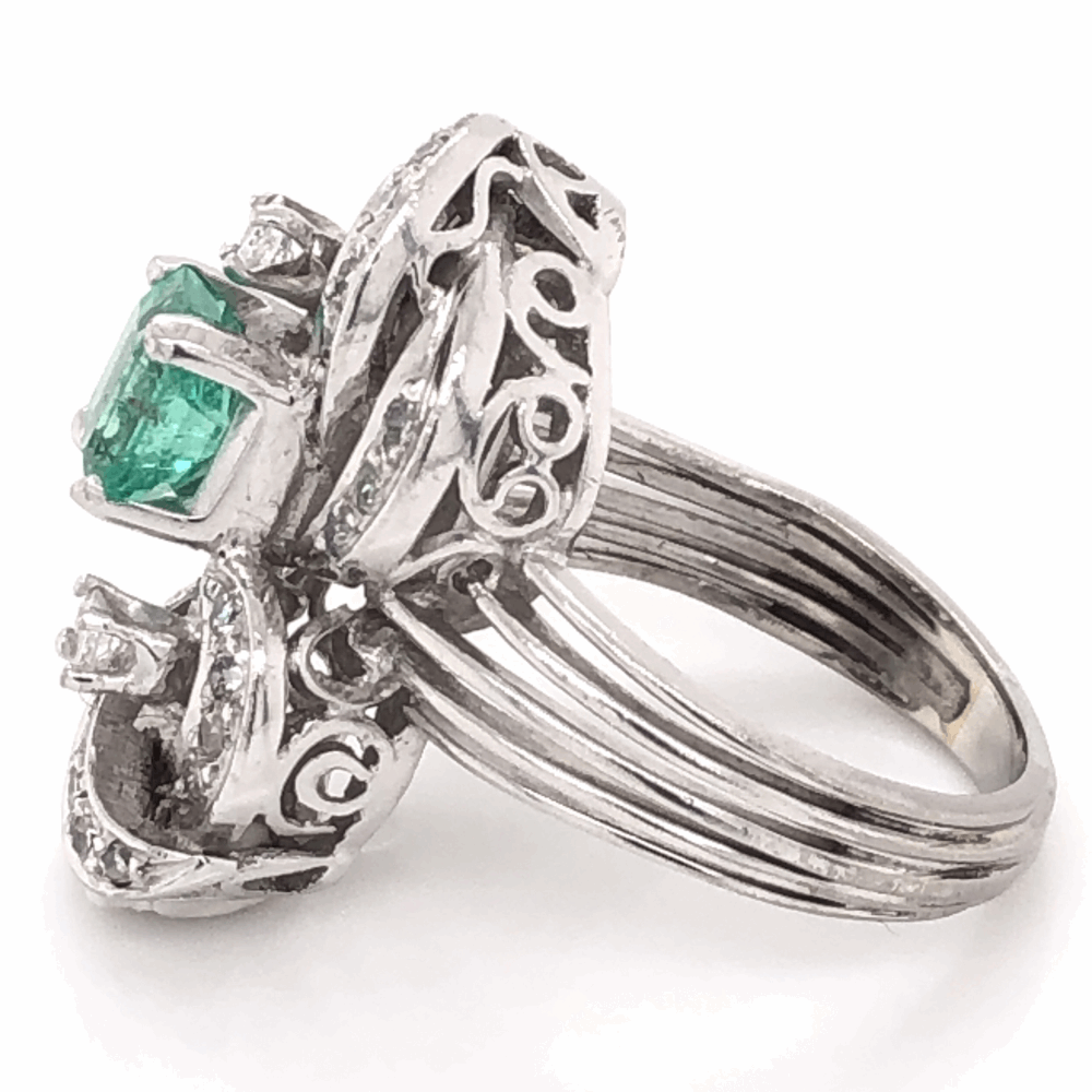 Image 2 for Platinum 1950's .50ct Emerald & .35tcw Diamond Cocktail Ring, 7.0g