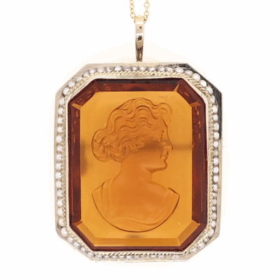 """Closeup photo of 14K Yellow Gold Victorian Carved 55ct Citrine & Seed Pearl Brooch 15.3g, 16"""" chain"""