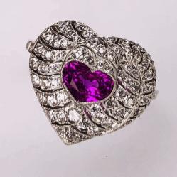 Platinum Art Deco 1.09ct Heart Shaped Ruby & .85tcw Diamonds Ring, s7