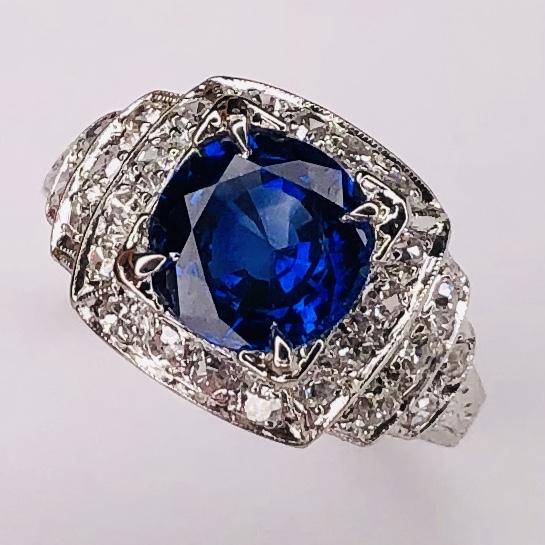 Platinum Art Deco 2.64ct Round Blue Sapphire & .54tcw diamonds Ring c1930, s6
