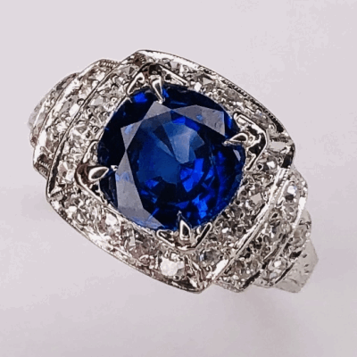 View image 3 for Platinum Art Deco 2.64ct Round Blue Sapphire & .54tcw diamonds Ring c1930, s6