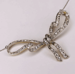 "Closeup photo of Platinum on 18K Edwardian 3.70tcw Diamond Bow Necklace 18"" Chain, c1900's"