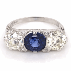 Closeup photo of Platinum Art Deco 2.91ct Round Sapphire & 2 OEC Diamond 1.46ct & 1.48ct 3stone Ring s7.5