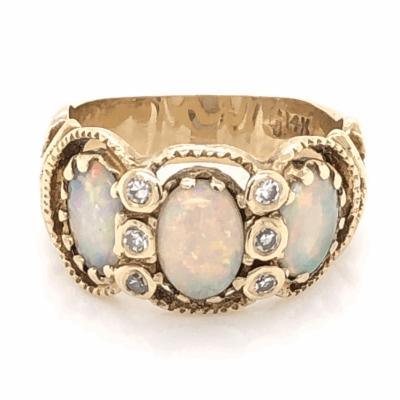 Closeup photo of 14K Yellow Gold Victorian 3 Opal Ring 1tcw & .12tcw diamonds s6