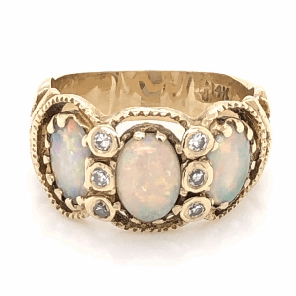 Closeup photo of 14K Yellow Gold Victorian 3 Opal Ring 1tcw & .12tcw diamonds s6