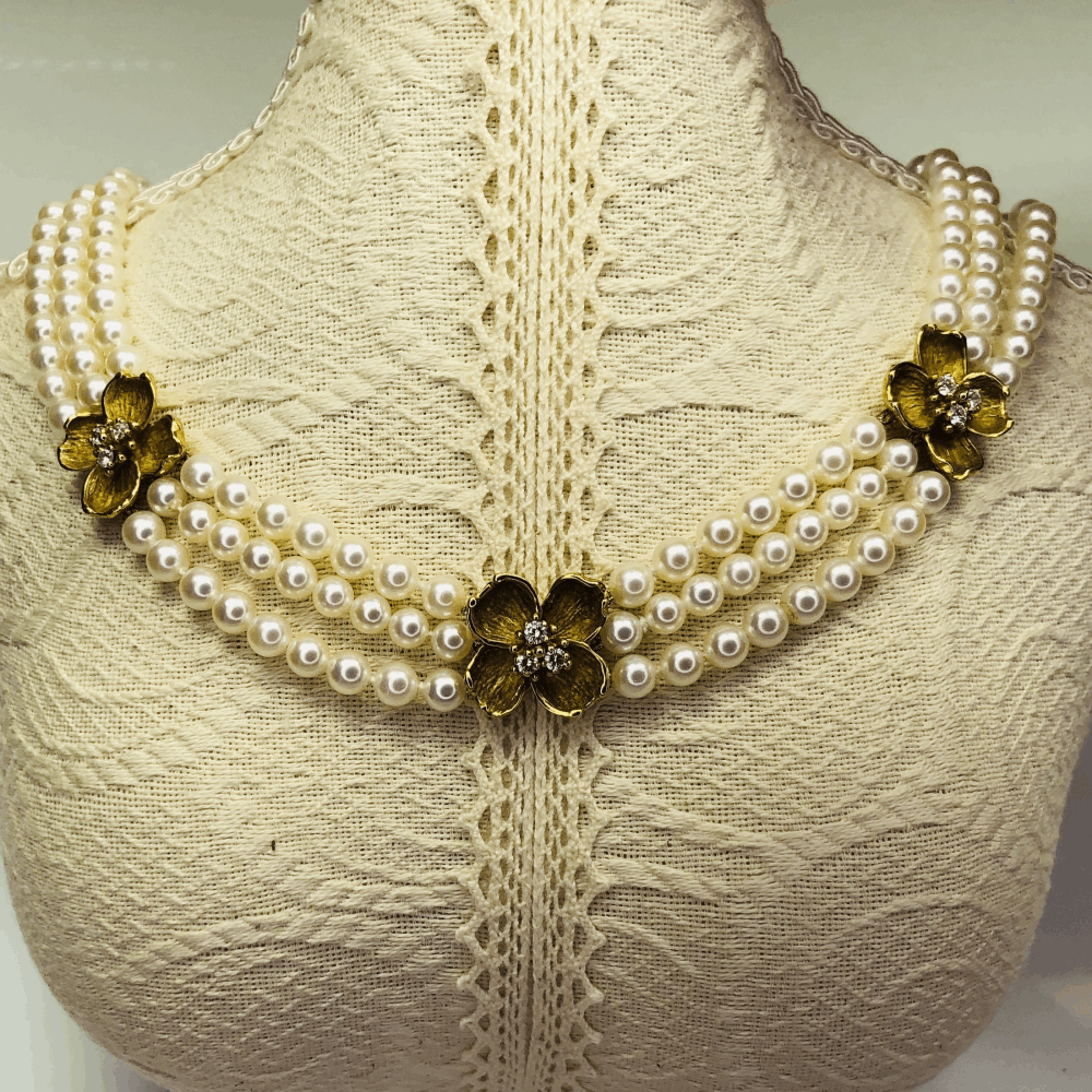 """18K Yellow Gold TIFFANY & CO Triple Strand Pearls Necklace with Four Flower Diamonds Stations 1.00tcw. 16"""", 5.5mm"""