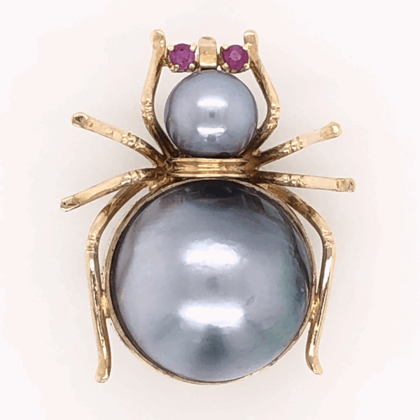 Closeup photo of 14K Yellow Gold SPIDER Brooch / Pendant Mabe Tahitian Pearls & Rubies, c1950's
