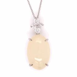 "Closeup photo of 18K White Gold 9.81ct Cabochon Moonstone Pendant .40tcw diamonds, 16"""