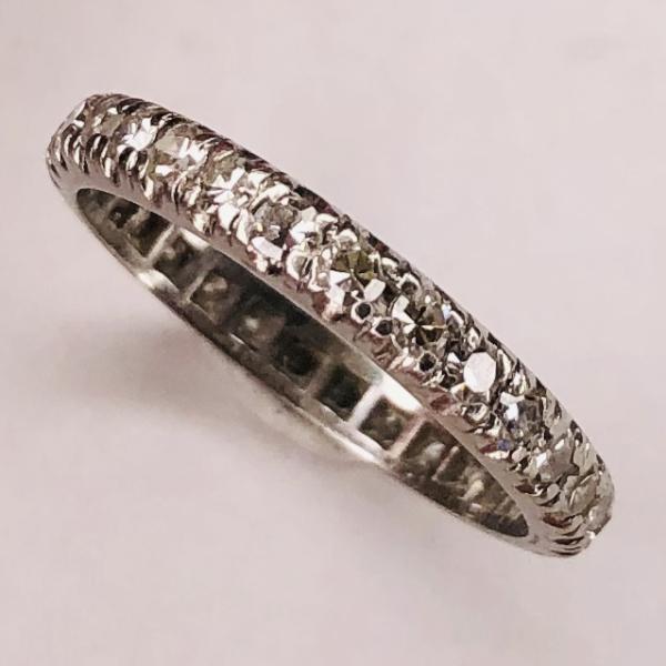 Closeup photo of Platinum Single Cut Diamond Eternity Band .70tcw, 2.5g, s5.25