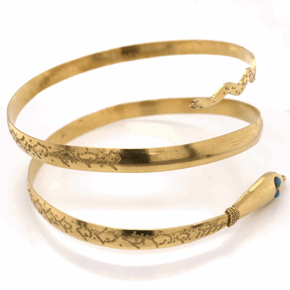Image 2 for 22K Yellow Gold Snake Bracelet 3 wrap wrist or bicep blue stones 45.7g