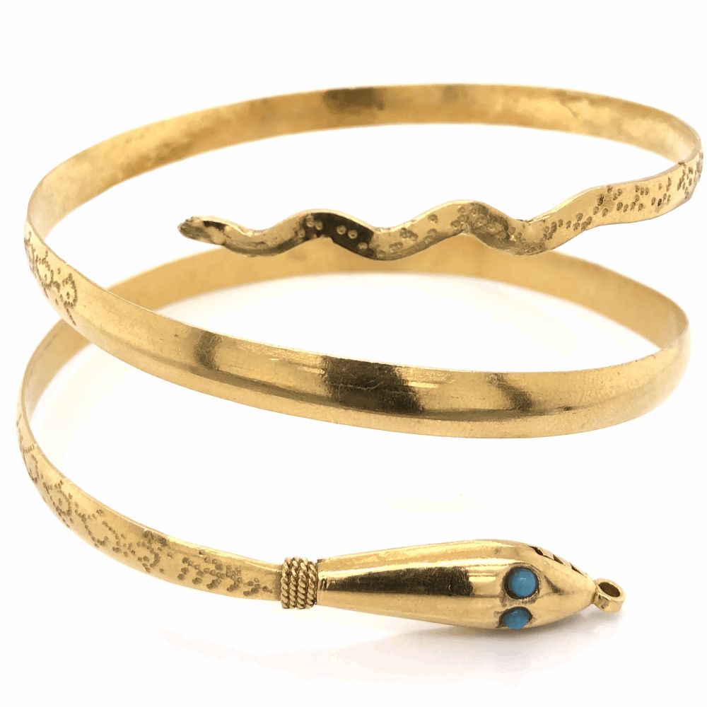 22K Yellow Gold Snake Bracelet 3 wrap wrist or bicep blue stones 45.7g