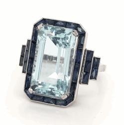 Platinum Art Deco 9.80tcw Emerald Cut Aquamarine & 4.20tcw French Cut Sapphires 11.4g, s6.5