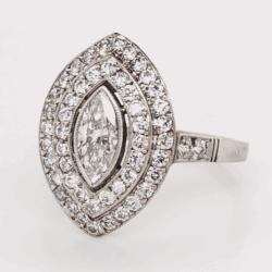 Closeup photo of Platinum Art Deco .52ct Marquis Diamond Ring & .83tcw side OEC Diamonds 4.3g, s7
