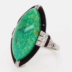 Platinum Art Deco Marquis Cabochon Green Turquoise, Red Enamel & .20tcw OEC Diamonds 9.2g, s6.75