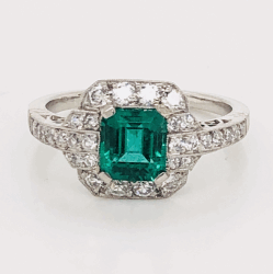 Closeup photo of Platinum Art Deco GIA Lab Report Emerald &  Diamond Ring