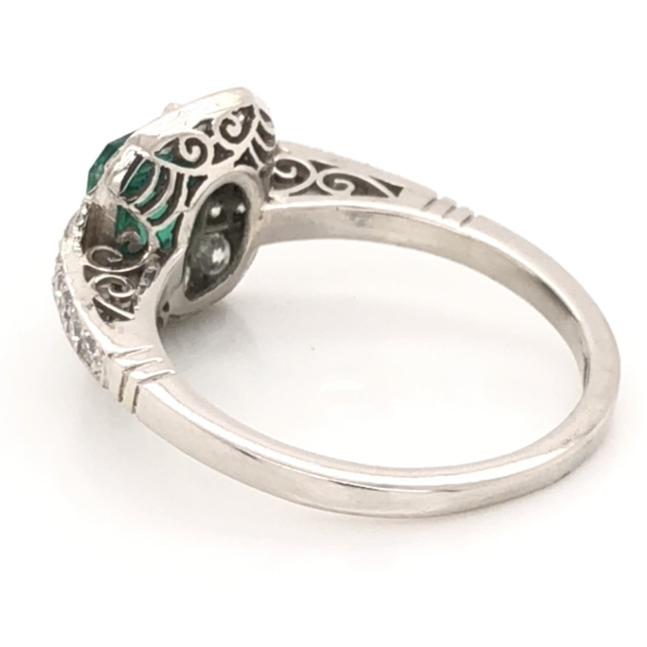 Image 2 for Platinum Art Deco GIA Lab Report Emerald &  Diamond Ring